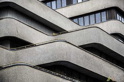 """""""Lietkoopsąjungos"""" pastatas. 1986 m., A. Grinčelaičio nuotr., LCVA, fotodokumentų skyrius."""